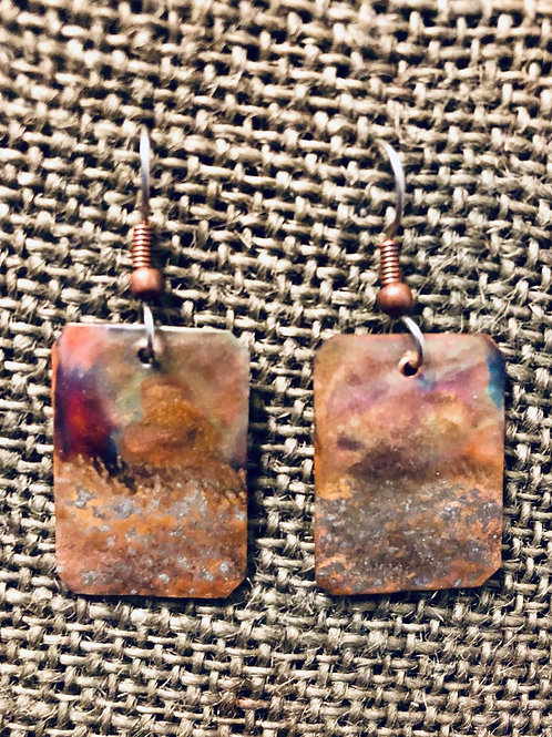 Copper Stamp Earrings (Small)