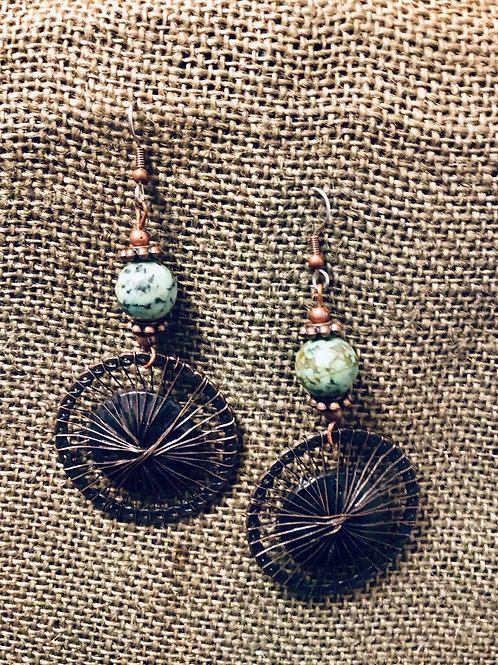 Copper and Turquoise Wired Disc Earrings (Large)
