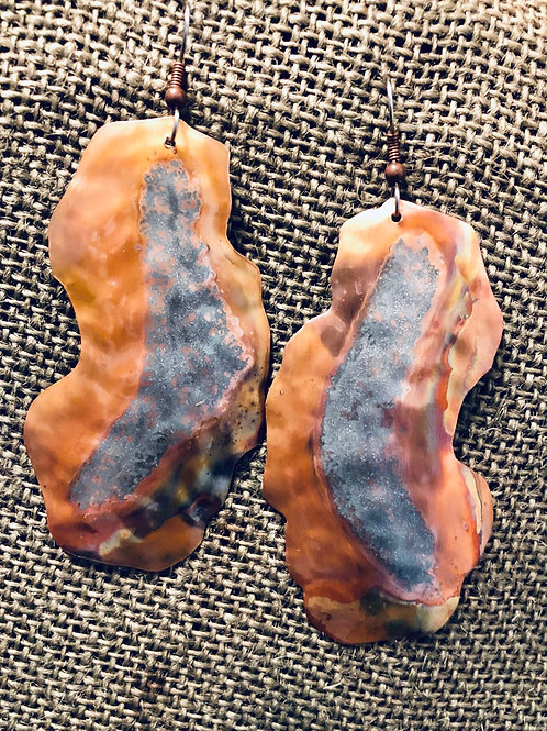 Copper Geode Accent Earrings (Extra Large)