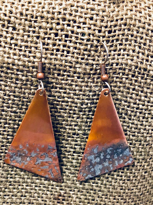 Copper Triangle Geode Accent Earrings (Medium)