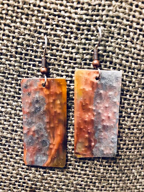 Copper Earrings Split Geode Accent (Small)