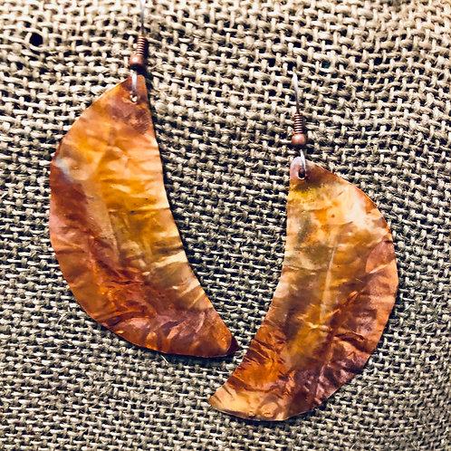 Copper Banana Leaves Earrings (Large)