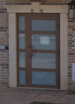 aluminum doors walnut color frosted glas