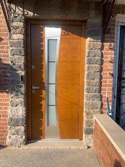 wood door middle village installed