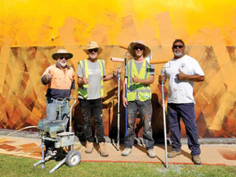 Percy Hobson mural brightens entry to Bourke