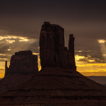 Sun Rays Over The Mittens (Monument Valley)
