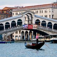 Venice Gondola and Rialto Bridge