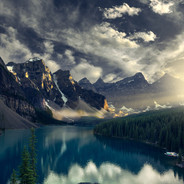 Moraine Lake Sunset Lightbeam