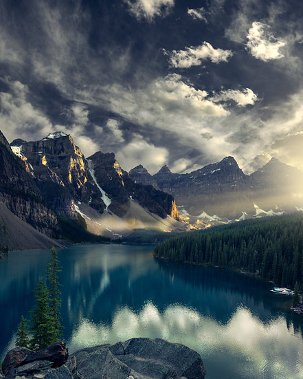 Moraine Lake Sunset Beams of Light