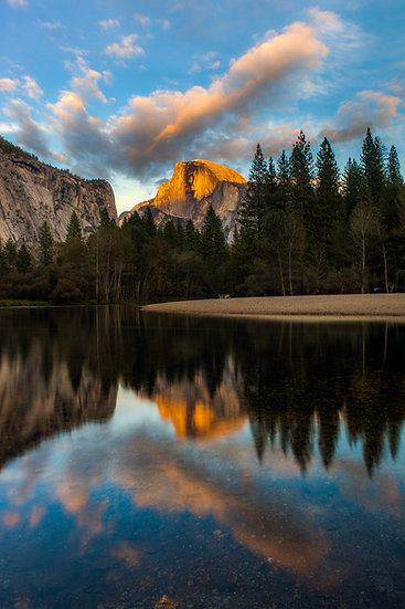 Half Dome Sunset With Merced River (Yosemite N.P.)