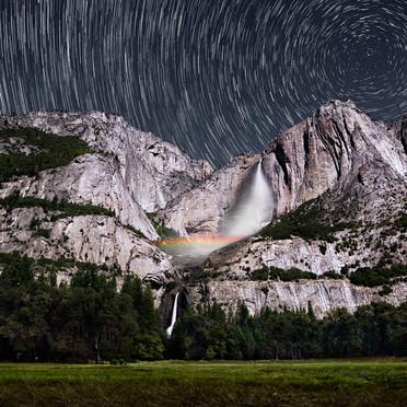 Yosemite Falls Lunar Rainbow Startrails