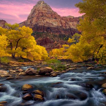 Zion and Virgin River Autumn Sunrise