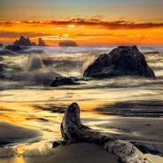 Bandon Sunset With Log