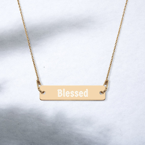Blessed Engraved Silver Bar Chain Necklace