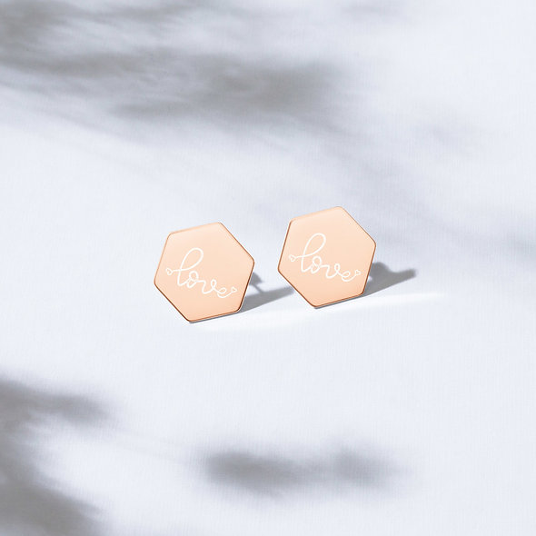 LOVE Sterling Silver Hexagon Stud Earrings