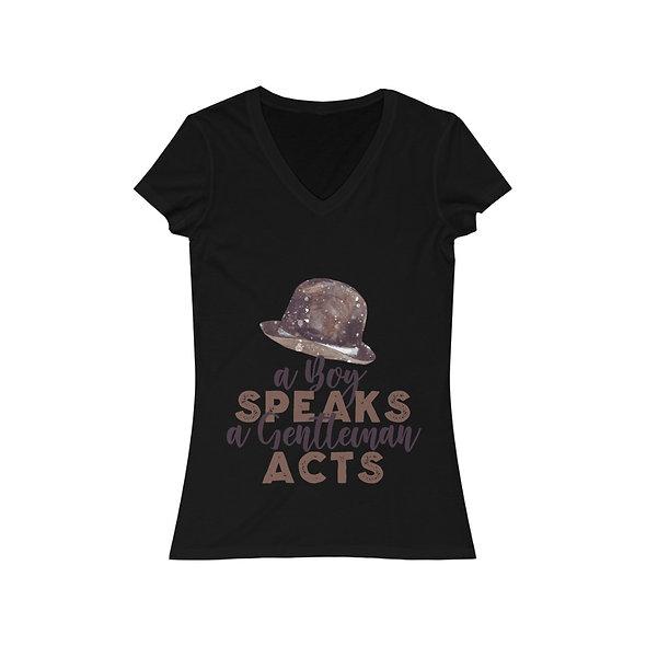 A Boy Speaks - Women's Jersey Short Sleeve V-Neck Tee