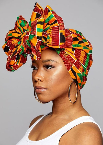 "KENTE Cloth Extra Long 72""×22"" Headwrap  African Print Wrap/Scarf"