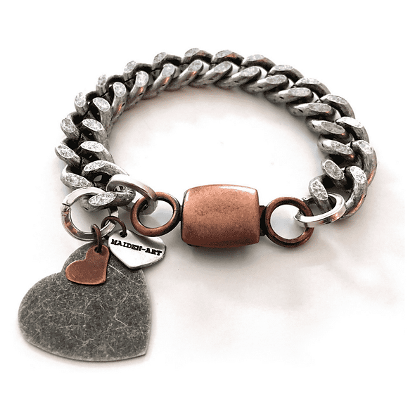 Double Heart and Chain Bracelet in Brass and Silver.