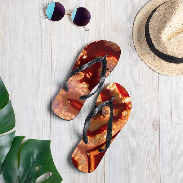 Burnt Orange Agate Flip-Flops