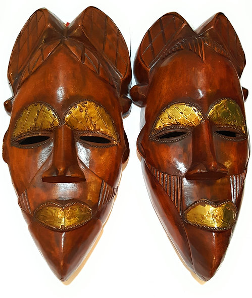 "2 Pieces of 12"" African Wood Mask: Brown"