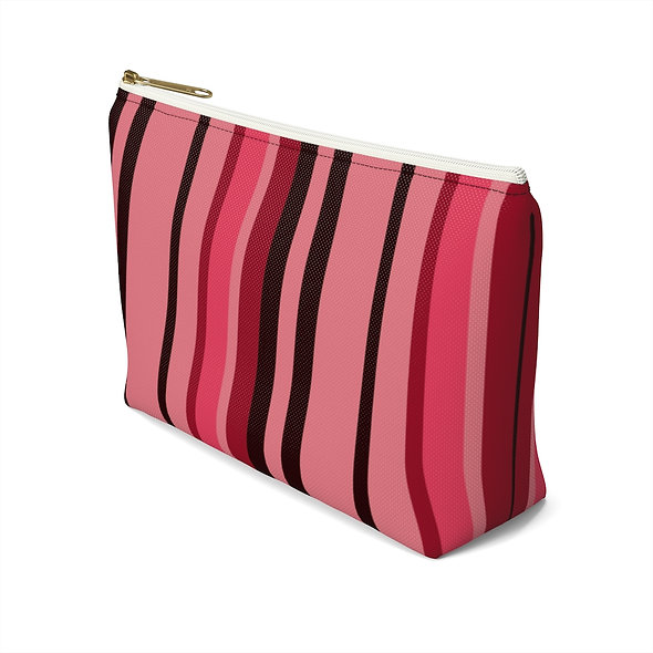 Red Striped Accessory Pouch w T-bottom