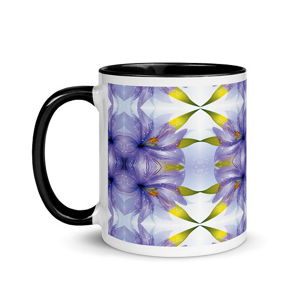 Purple Floral Explosion Mug with Color Inside