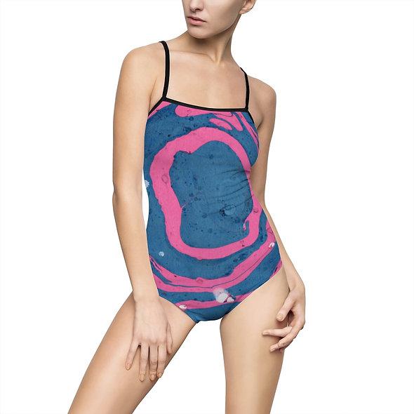 Women's One-piece Marblelized Swimsuit - Marblelized Blue & Pink