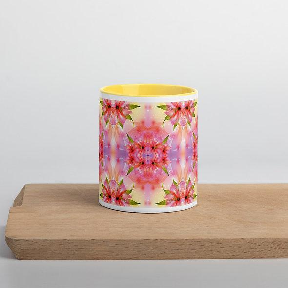 Pink Floral Explosion Mug with Color Inside