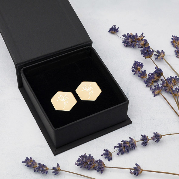 Flowering - Sterling Silver Hexagon Stud Earrings