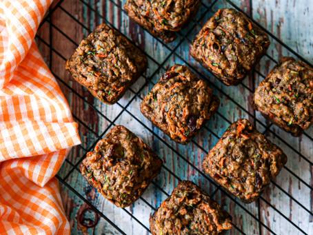 Healthy nutrient dense vegan zucchini carrot muffins