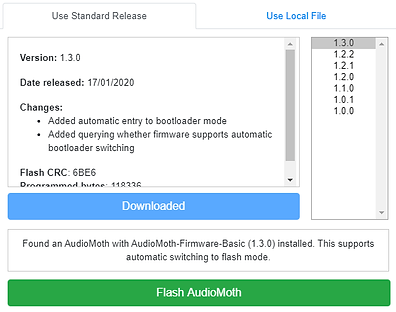 The AudioMoth Flash app, ready to flash a device.