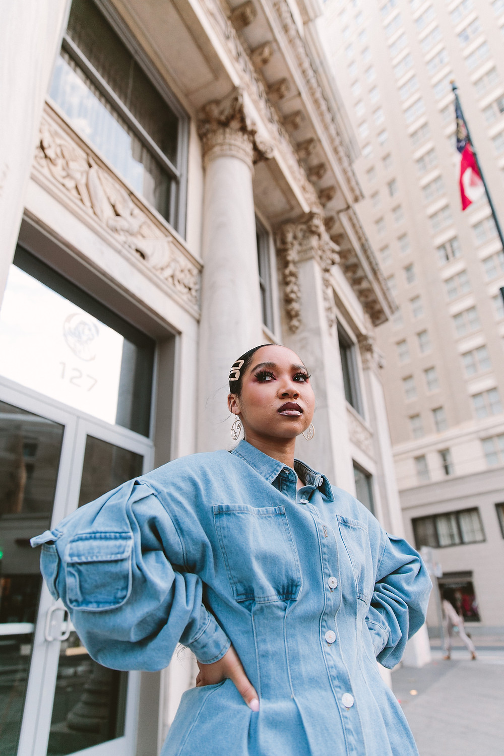 Synahia — fall street style. Utility Denim Jacket.