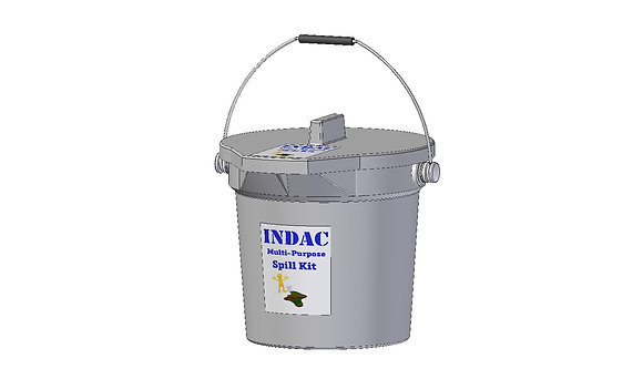 Indac Multi-purpose spill kit, safety equipment to clean up hazardous spills all contained in a heavy duty plastic bucket