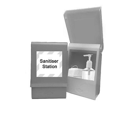 Covid-19, corona virus sanitiser and health product storage box