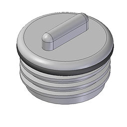 Two inch threaded drain bung with o-ring injection moulded from polypropylene