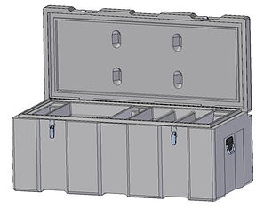 Rotomoulded polyethylene , heavy duty plastic toolbox 1200mm width, 600mm depth, 490mm height, Assembled with stainless steel fittings