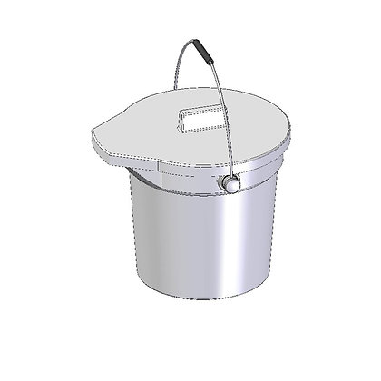 Heavy Duty Polyethylene pour-able bucket with lid and handle 15 Litre