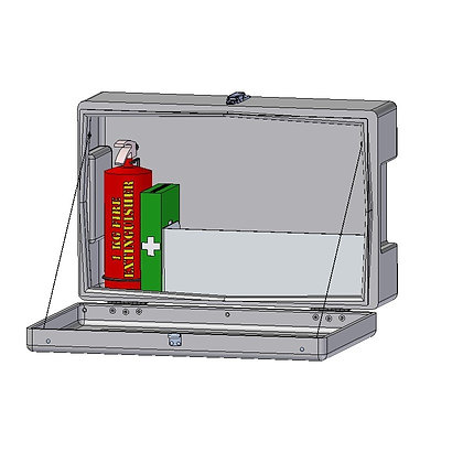 Polyethylene Plastic site & safety box open with fire extinguisher and first aid kit
