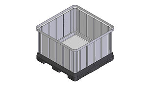 Pallet Bin 720 Litre made from UV resistant polyethylene, forklift entry points, forklift tippable, stackable for storage