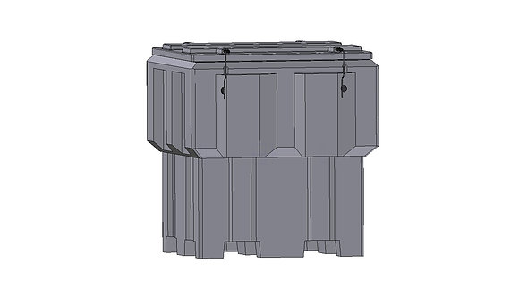 Polyethylene plastic rotomoulded 1450 litre storage bin with lid, forkliftable