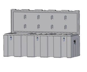 Rotomoulded polyethylene , heavy duty plastic toolbox 1600mm width, 600mm depth, 550mm height, Assembled with stainless steel fittings