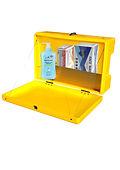 Covid sanitiser station polyethylene weatherproof box containing hand sanitiser, face masks, gloves, sanitiser station sticker
