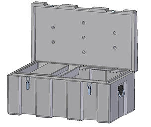 Rotomoulded polyethylene , heavy duty plastic toolbox 900mm width, 500mm depth, 400mm height, Assembled with stainless steel fittings