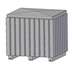 Storage Bin 1050 Litre Complete 3D squar
