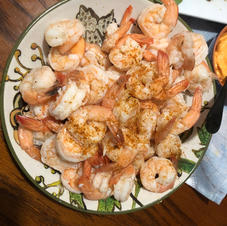 Experimenting with Hatteras shrimp for our dining pleasure!