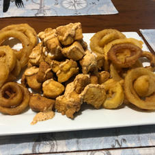Fresh Mahi Bites and homemade Onion Rings....Does it get any better than this???