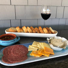 One of our fav. quick suppers...and a glass of red to compliment it!