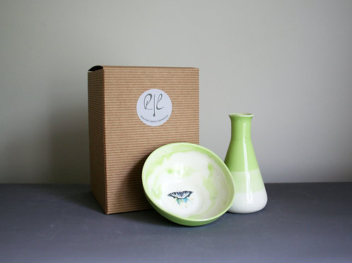 Milk Jug and Sugar Bowl Set-Green Butterfly