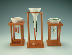 Set of various funnels and stands
