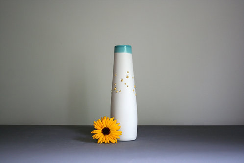 'Dribble' Vase-Blue Rim